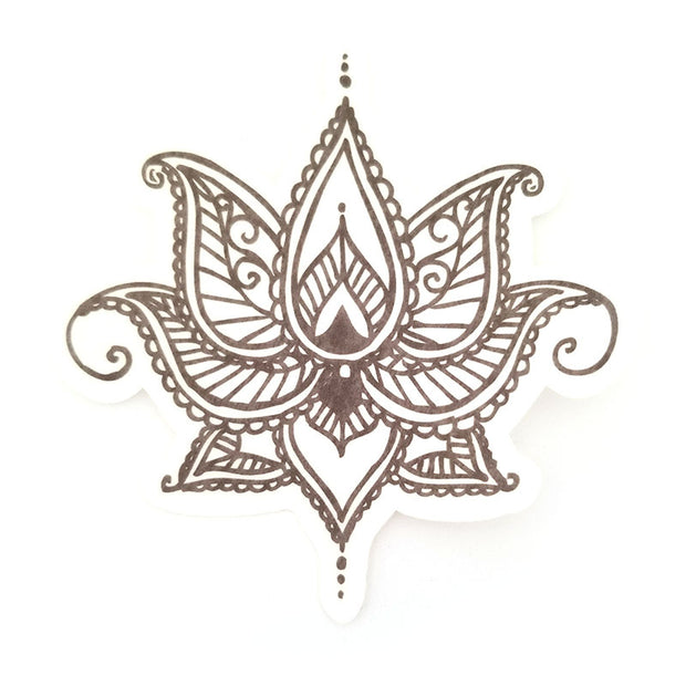 No cutout Silly Patch: Black Henna lotus flower