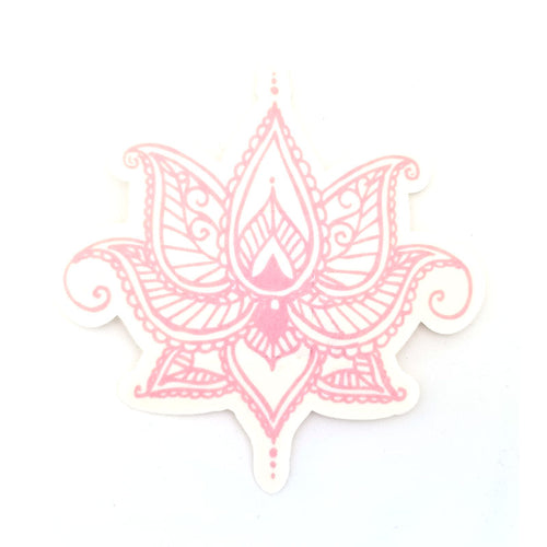 No cutout Silly Patch: Pink henna lotus flower