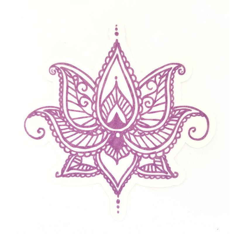 No cutout Silly Patch: Purple henna lotus flower