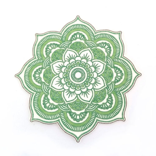 No cutout Silly Patch: Green mandala