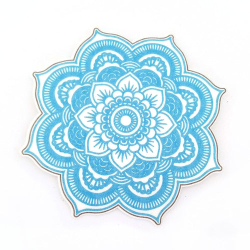 No cutout Silly Patch: Light blue mandala