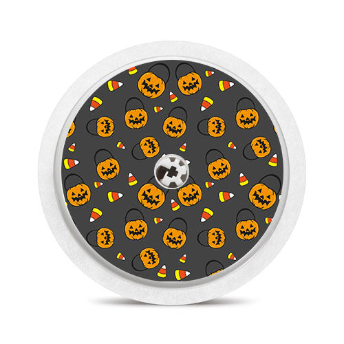 Freestyle Libre sensor sticker: Candy corn pumpkins