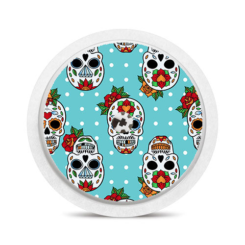 Freestyle Libre sensor sticker: Blue sugar skulls