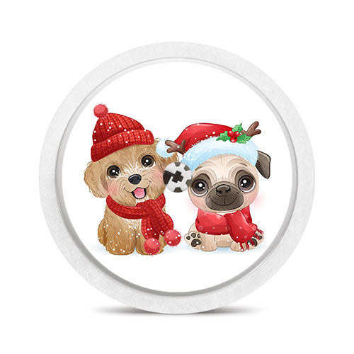 Freestyle Libre sensor sticker: Christmas dogs