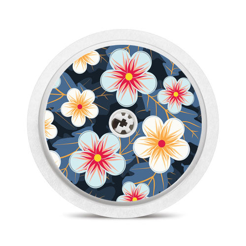 Freestyle Libre sensor sticker: Flowers on blue