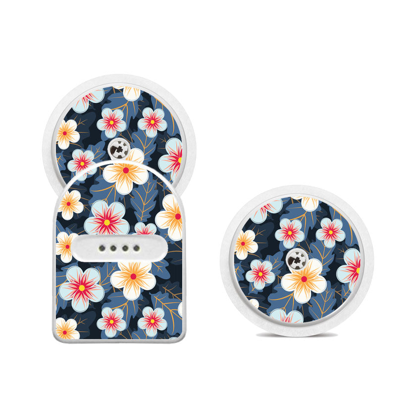 Miao Miao sticker set: Blue flowers