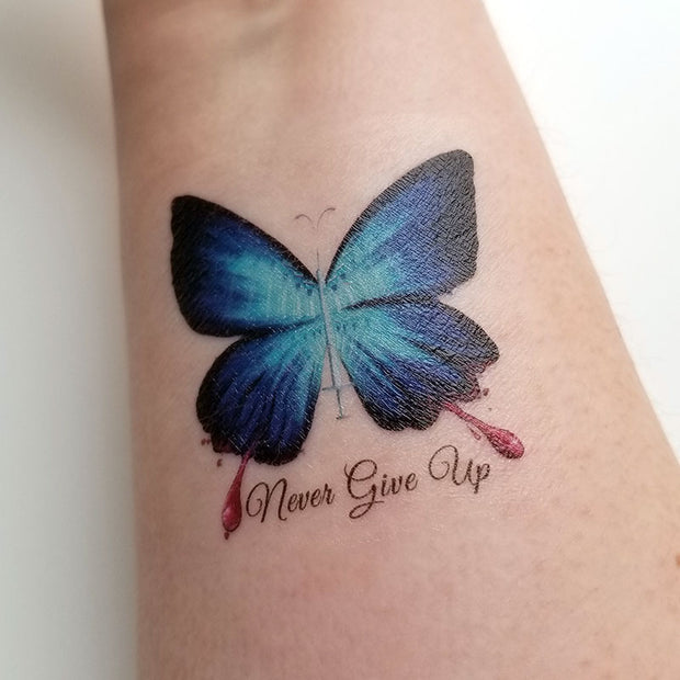 Never Give Up Temporary Tattoo