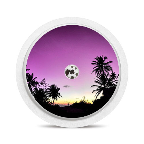 Freestyle Libre sensor sticker: Palm trees purple sky