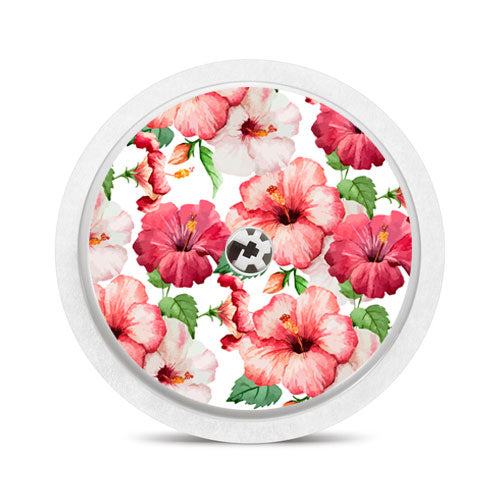 Freestyle Libre sensor sticker: Pink tropical flowers