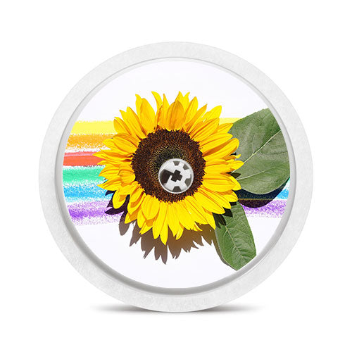 Freestyle Libre sensor sticker: Rainbow sunflower