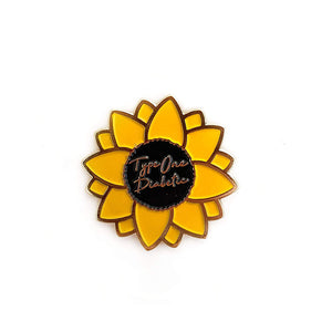 Organising Chaos Sunflower Type One Diabetic Enamel Pin