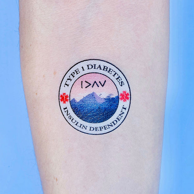 Type 1 Diabetes Insulin Dependent Mountains - Medical Alert Temporary Tattoo