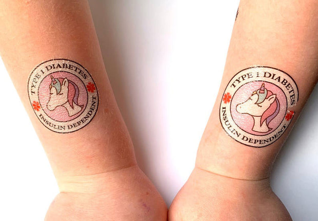 Type 1 Diabetes Insulin Dependent Unicorn - Medical Alert Temporary Tattoo