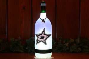 Dallas Stars Hockey Wine Bottle Light