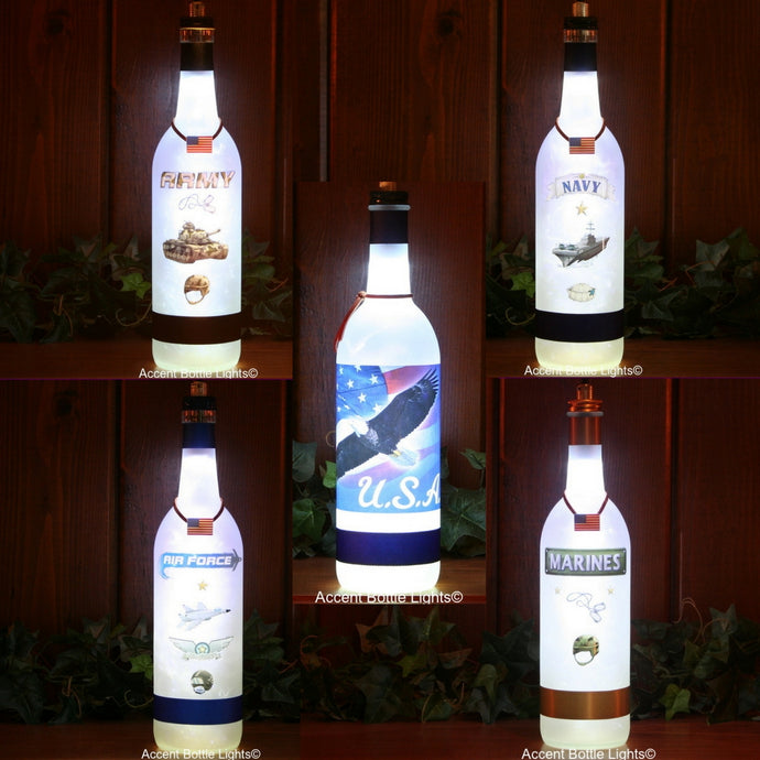 Military and Patriot themed frosted glass bottle lights