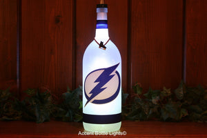 Tampa Bay Lightning Hockey Wine Bottle Light