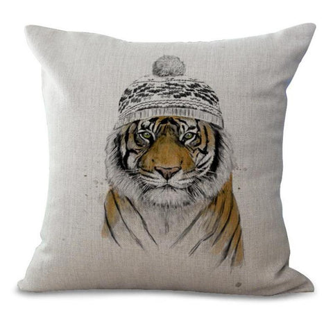 New Hot Cute Cartoon Sketch Animal Printed Cotton Linen Kids Throw Pillow Home Sofa Chair Cushion Tiger Pattern