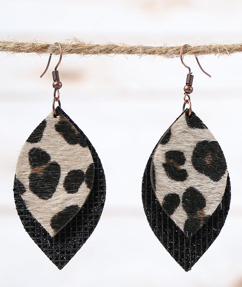 Black Glitter Leopard Earrings