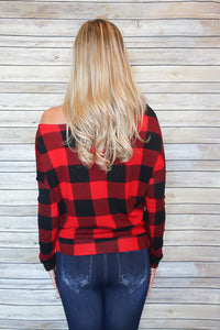Cozy Off Shoulder Red Plaid Sweater