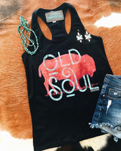 Black old soul tank top with buffalo