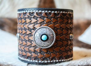 Turquoise and Studs Leather Cuff by Joe Weyant