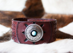 Turquoise Tooled Cuff by Joe Weyant
