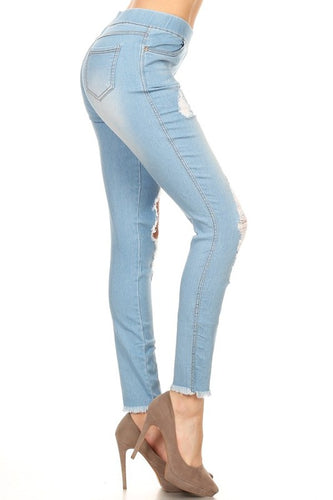 Distressed Light Denim Jegging