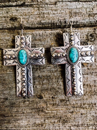 Silver and Turquoise Cross Casted Earrings