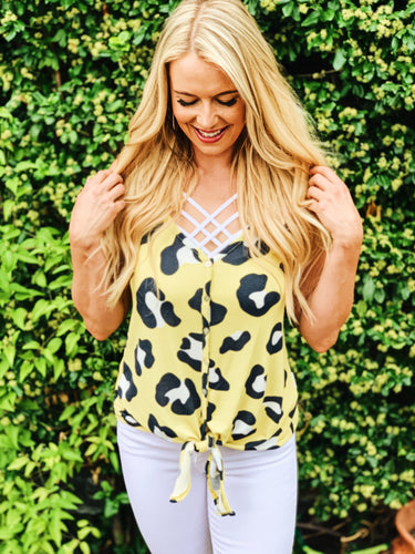 Yellow animal print leopard tie tank top