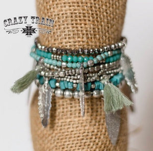 Tassels and Turquoise Bracelet Stack