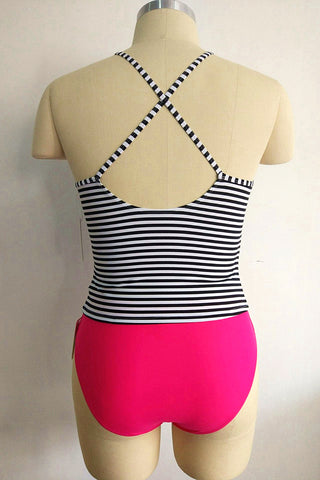 A304# Striped Cross Back Halter Tankini Top & Rose Red Bottom * - Cobunny