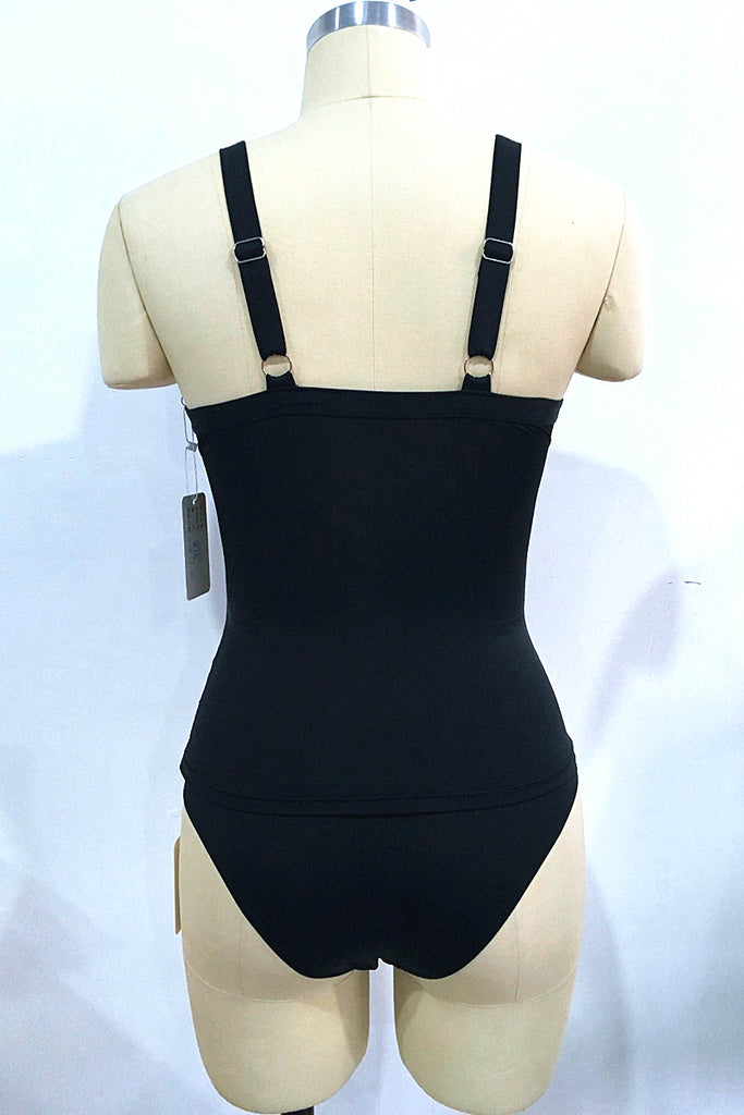 A402# Black Solid Cut Out Ruched Tankini Set * - Cobunny