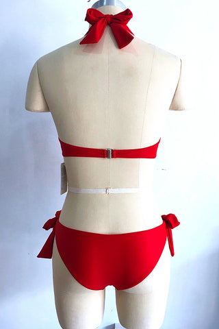 A312# Red Solid Lace Up Halter Bikini Set * - Cobunny