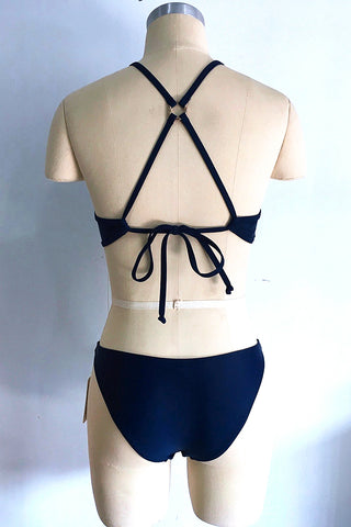 A439# Navy Blue Crochet High Neck Cross Back Bikini Set * - Cobunny