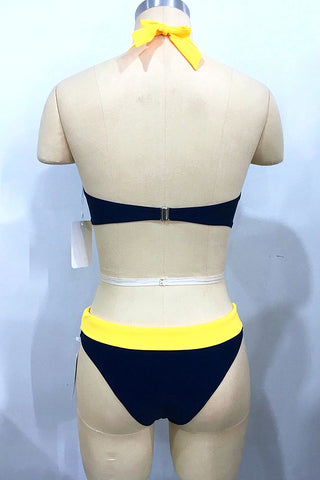 A419# Navy Blue and Yellow Color Block Lace Up Front Bralette Halter Bikini Set * - Cobunny
