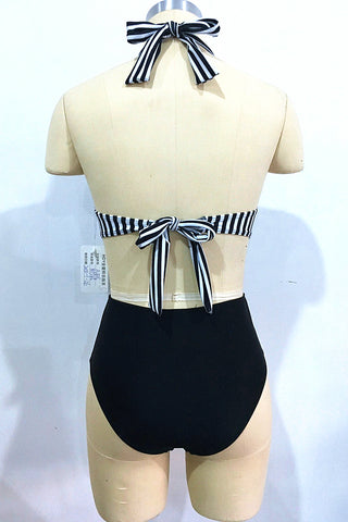 A435# Black and White Striped Surplice Neck Halter One Piece Swimsuit * - Cobunny