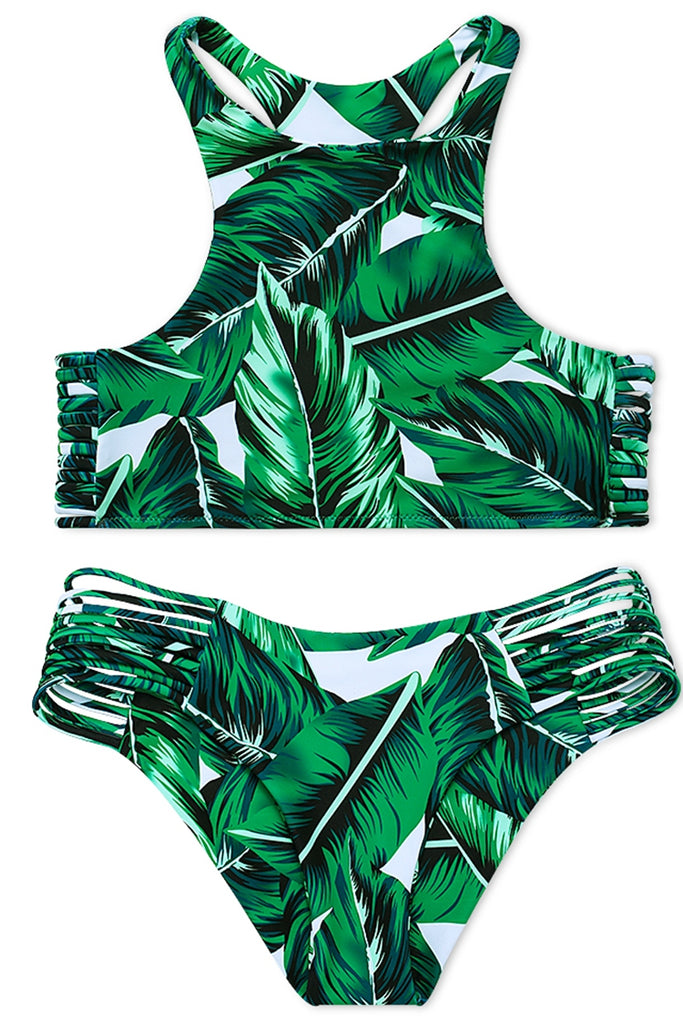 FB534# Green Palm Tree Leaves Racerback Cutout Tankini * - Cobunny