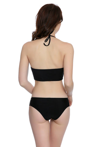 FB699# Black Strappy Push Up Halter Bikini Set * - Cobunny