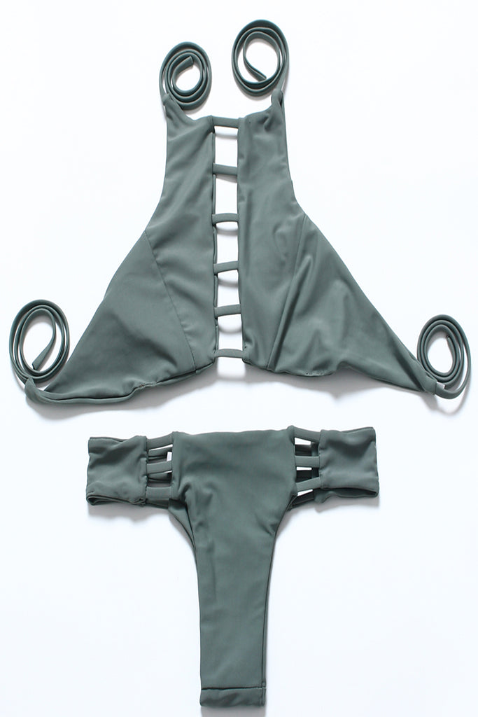 FB850# Solid Color Reversible Strappy Cut Out High Neck Halter Bikini Set * - Cobunny