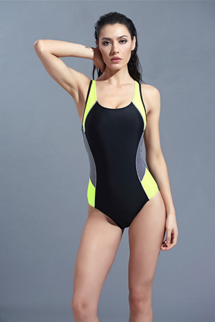 FB979# Contrast Trim Checked Side Panel Racerback Tank One Piece Swimsuit * - Cobunny