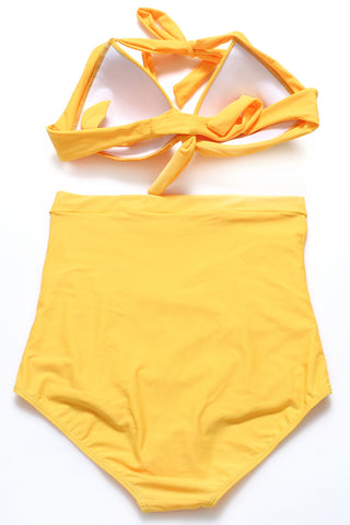GK015# Solid Color Swimwear High Waist Vintage Bikini Set * - Cobunny