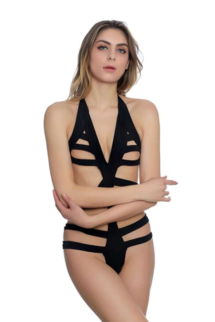 FB737# Black Solid Banded Cut Out Halter One Piece Swimsuit * - Cobunny