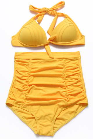 Solid Tie Front Ruched Push Up Full Cup Bra High Waist Bikini Set - Cobunny