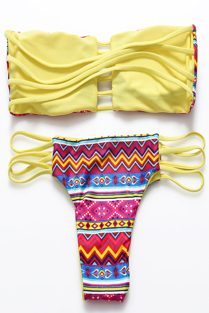 FB666# Colorful Chevron Print Reversible Strappy Cutout Bandeau Bikini Set * - Cobunny