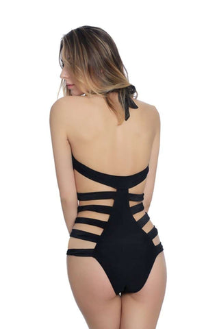 Black Solid Banded Cut Out Halter One Piece Swimsuit - Cobunny