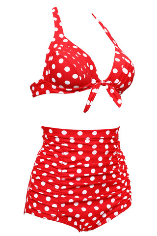 Dotted Tie Front Ruched Push Up Full Cup Bra High Waist Bikini Set - Cobunny