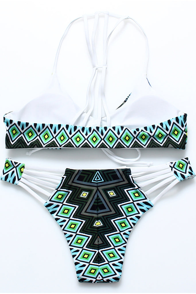 FB923# Tribal Cut Out Reversible Strappy Bralette Bikini Set * - Cobunny