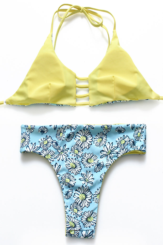 FB667# Cute Chrysanthemums Print Reversible Cut Out Bralette Halter Bikini Set * - Cobunny