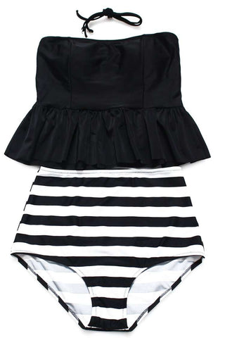 Black Ruffle Bandeau Tankini Top & Striped High Waist Bottom - Cobunny
