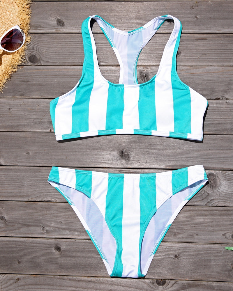 PF085# Wide Vertical Stripe Printed Bikini Set with Race Back* - Cobunny